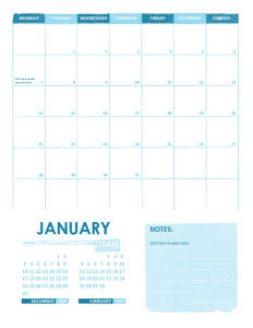 Sample Academics Calendar Template
