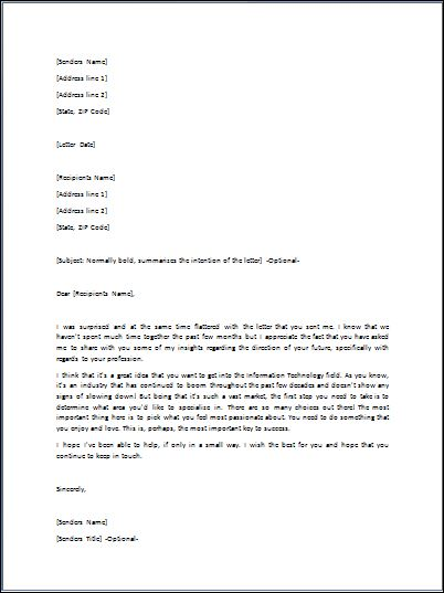 Sample Advice Letter Template | Formal Word Templates