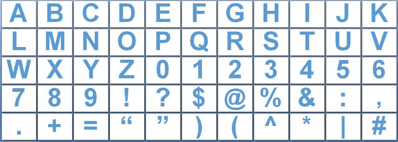 Printable LetPrintable Letters, Numbers and Punctuation Signsters and Numbers