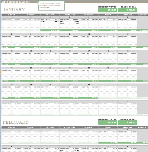 Monthly Expense Calendar : Any year expense calendar template formal word templates