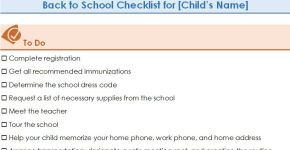 Student Back-to-School Checklist Template