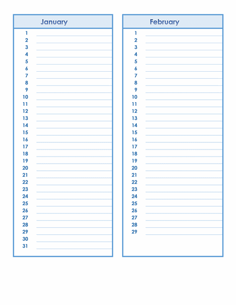 Birthday and Anniversary Calendar Template | Formal Word Templates