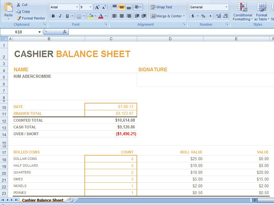 Manual Cash Drawer Balance Form