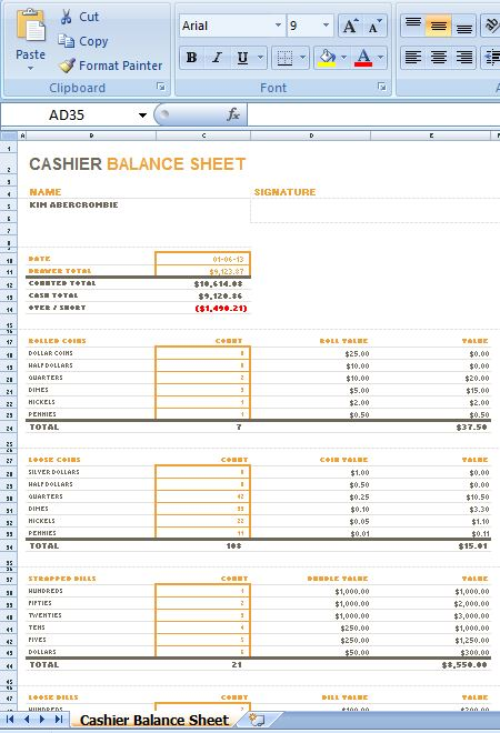 Sample MS Excel Cashier Balance Sheet Template – Microsoft Excel Balance Sheet Template