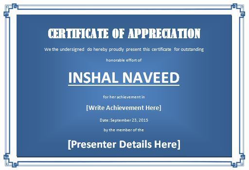 Certificate of Appreciation Template for word | Formal Word Templates