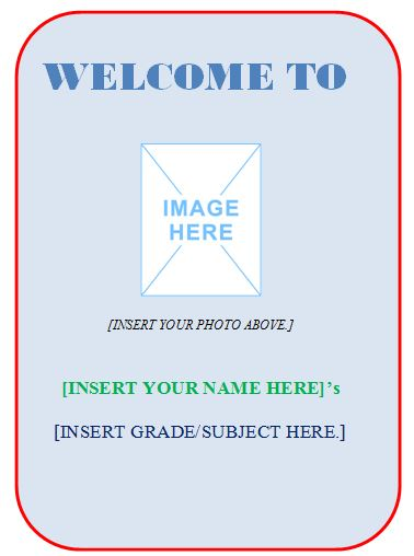 Sample Classroom Wall/Door Sign Template