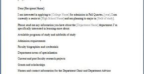 College Admission Information Requesting Letter