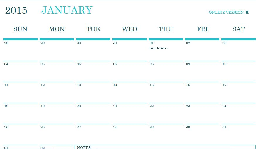 Monthly Community Event Planner Template | Formal Word Templates