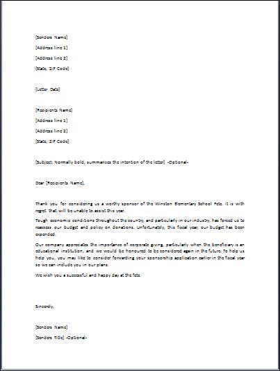 sample denial letter template