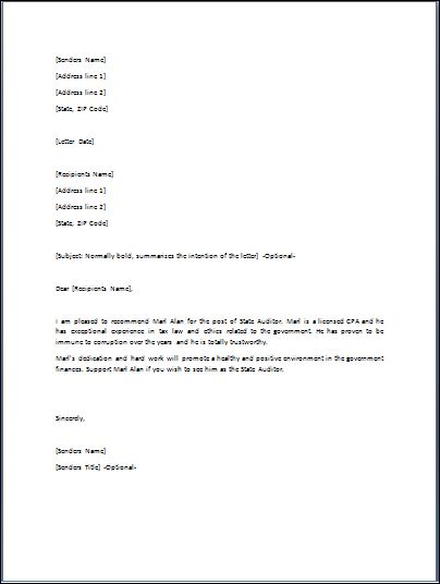 Sample Endorsement Letter Template  Formal Word Templates