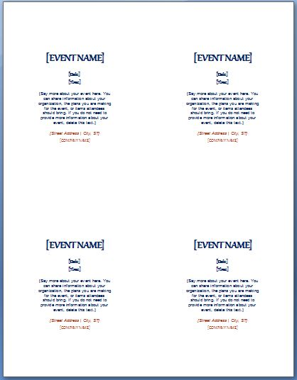 event invitation template 4 per page formal word templates