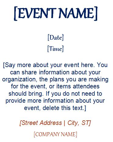 Event Invitation Template (4 Per Page)
