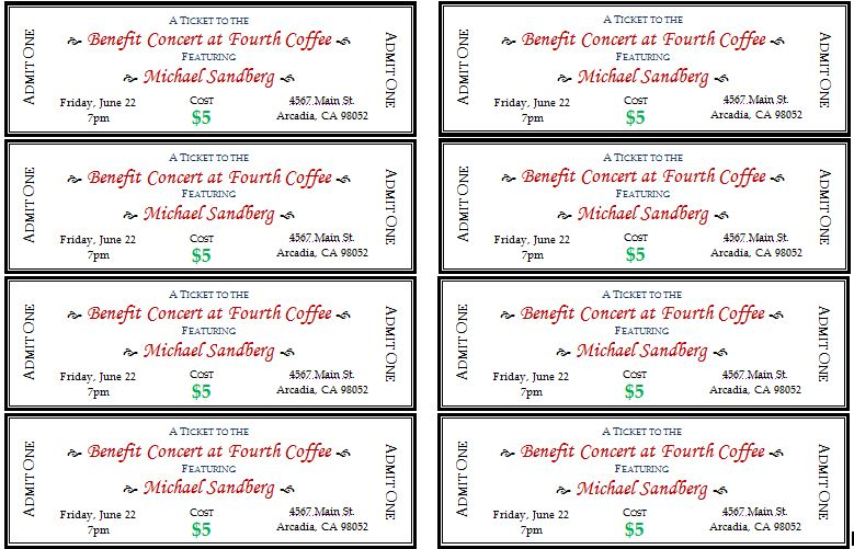 Marvelous Generic Event Ticket Templates For Event Tickets Template Word
