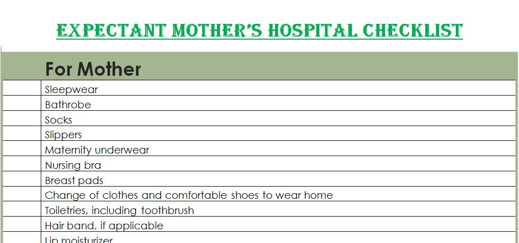 Expectant Mother's Hospital Checklist Template