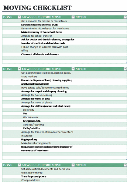 family home moving checklist template