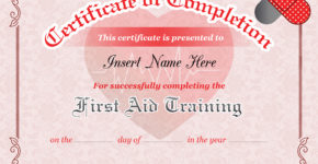 First Aid Training Completion Certificate