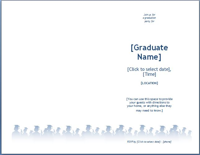 Ms word graduation party invitation template formal word for Free graduation invitation templates for word