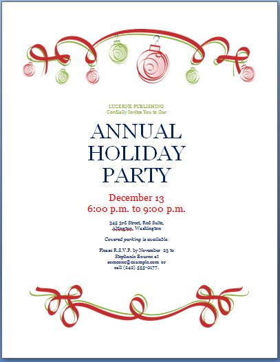 Holiday Party Invitation Template | Formal Word Templates