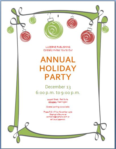 Holiday Party Invitation Template  Invitation For Party Template