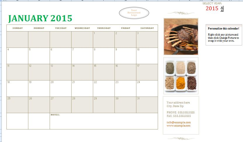 Sample Small Business Calendar Template  Formal Word Templates