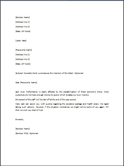 Sample Layoff Letter Template | Formal Word Templates