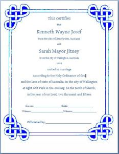 Formal Marriage Certificate Template