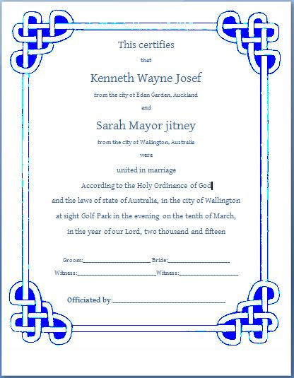 Ms Word Formal Marriage Certificate Template | Formal Word Templates