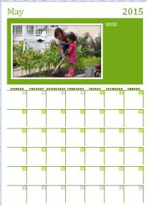 MS Excel Photo Calendar Template