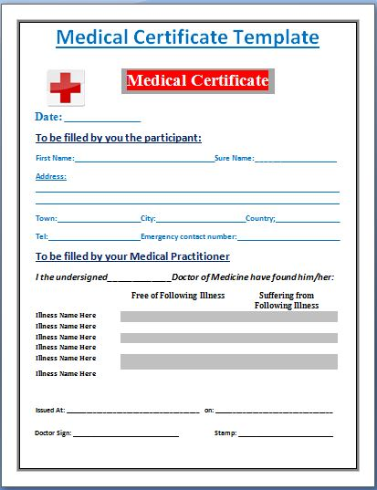 Medical Certificate Format Format Of Medical Certificate For