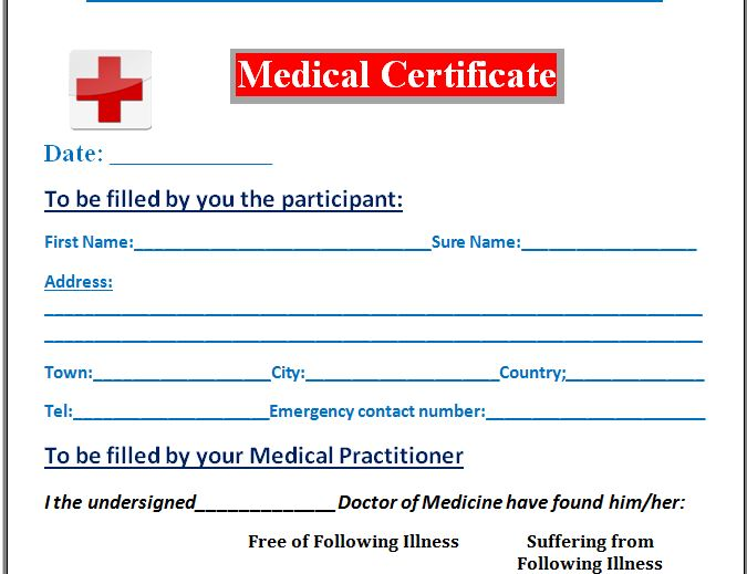 Sample Medical Certificate Template  Formal Word Templates