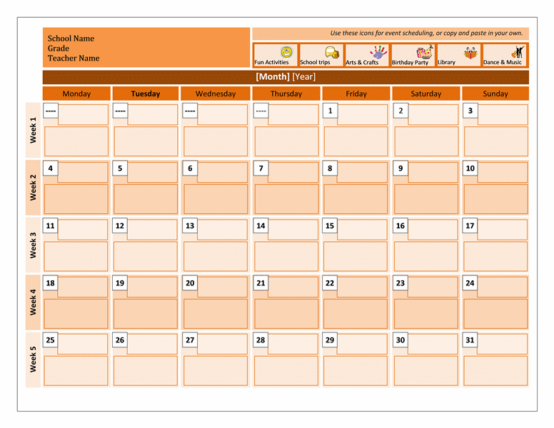 Monthly Activity Calendar Template