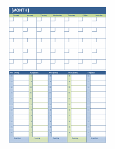 Monthly and Weekly Planning Calendar Template