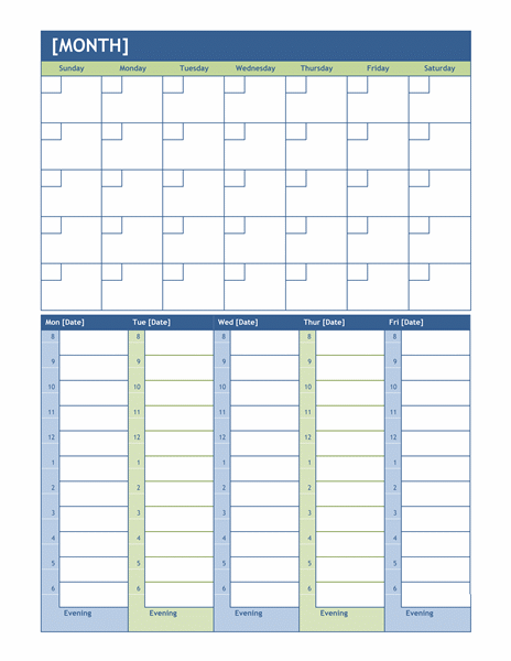 Weekly Calendar With Room For Notes : Monthly and weekly planning calendar template formal
