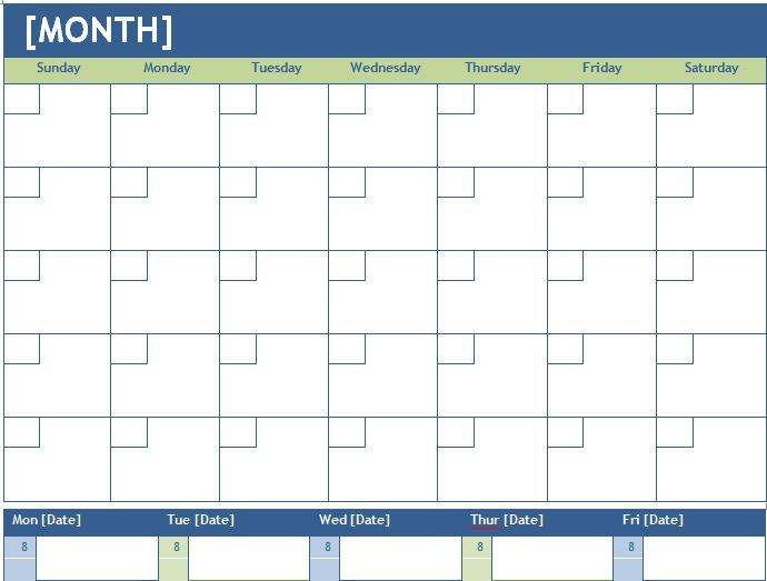 Monthly and Weekly Planning Calendar Template | Formal Word Templates