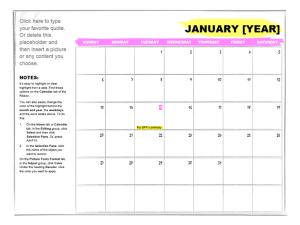 One-month Student Calendar Template