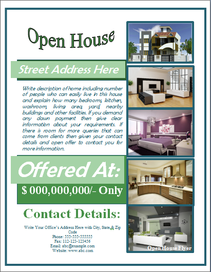 Sample open house flyer template formal word templates for Open house brochure template