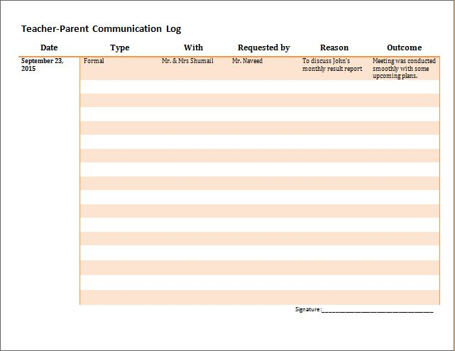 Parent Teacher Communication Log Template   Formal Word Templates