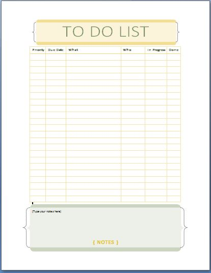 MS word Personal Tasks TodoList Template – To Do List Template Word