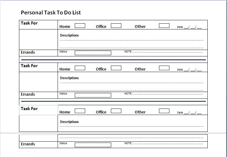 Personal Tasks To Do List Template  List Template Word