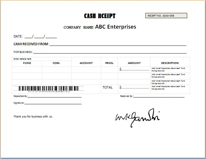 Generic Blank Receipt Template – Official Receipt Sample Format