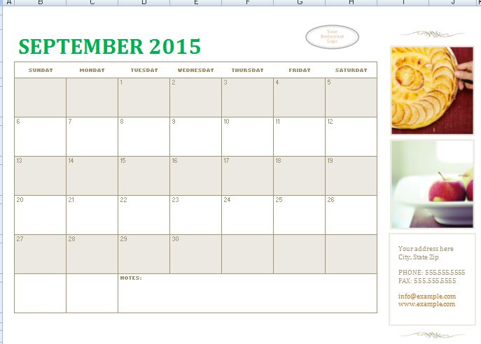 Sample Small Business Calendar Template | Formal Word Templates