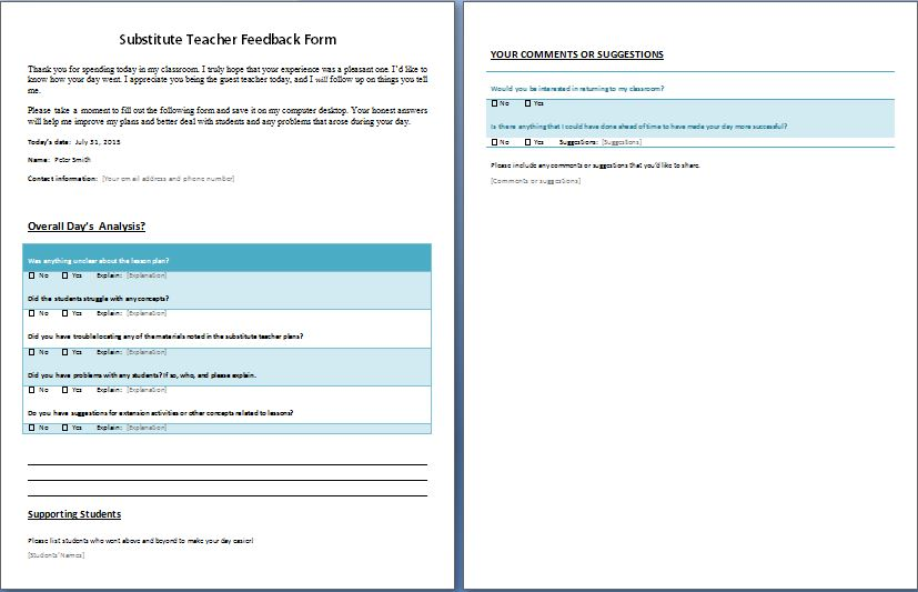 Feedback Form for Substitute Teacher | Formal Word Templates
