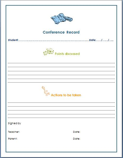 TeacherParent Conference Record Form  Formal Word Templates