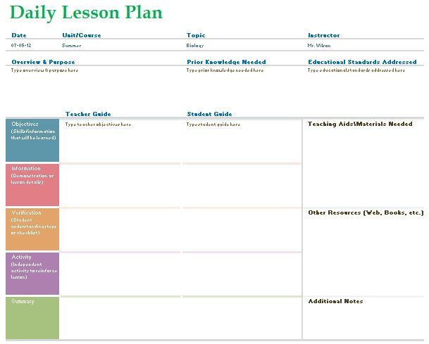 day plan template for teachers - teacher daily lesson planner template formal word templates