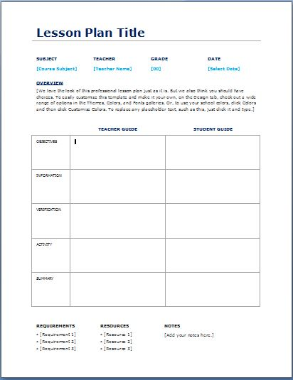 Teacher daily lesson planner template formal word templates for Teachers college lesson plan template