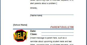 Teacher Message to Parent Sheet
