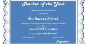 Teacher of the Year Award Certificate Template