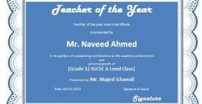 Teacher of the Year Award Certificate Template