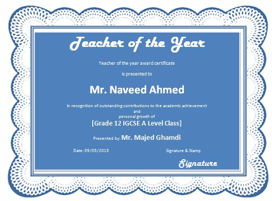 Teacher Of The Year Award Certificate Template  Formal Word Templates