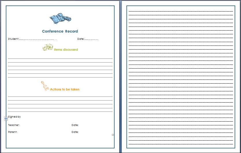 Teacher Parent Conference Record Sheet